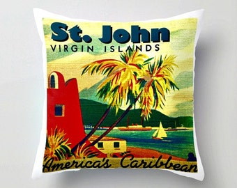 ST JOHN Pillow Cover, Virgin Islands pillow, St John Throw pillow, US Virgin Islands vintage art pillow 18x18