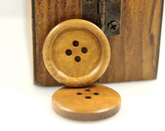 Wooden Buttons - Minimalist Four Holes Domed Border Light Khaki Wooden Buttons, 0.95 inch (10 in a set)