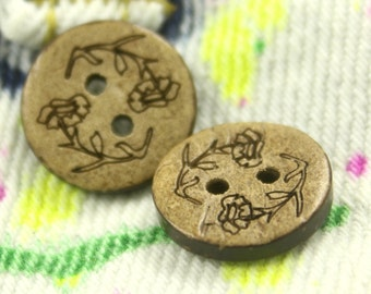 Coconut Buttons with Morning Glories Carving Pattern, 0.59 inch, 10 pcs