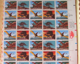 UNused Vintage US Postage Stamps Full Sheet of 40 25cent 1980s Dinosaurs Postage Stamps Valentine's Save the Date Wedding Prehistoric TRex