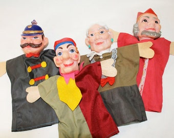 Vintage Hand Puppets for Story Telling; Policeman, Grandma, King and Jester