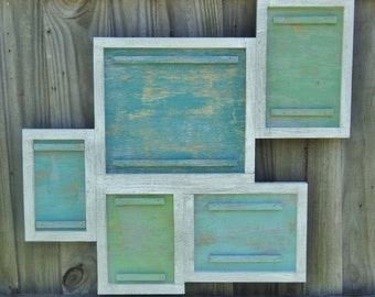 Beach House Style, 5 Photo Wooden Frame Collage, Lake House Decor, You Choose Colors