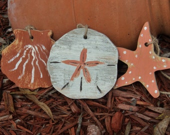 50 Nautical Ornaments, Beach Themed Wooden Tags, Gift Tags, Party Decorations, Wedding Favors, Sand Dollar, Shell Fish, Star Fish