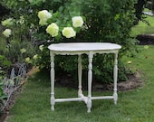 REDUCED Antique Shabby English Country Table w Turned Spindle Legs and Scalloped Edge Garden Cottage Chic