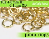 18g 4.0 mm ID 6.1 mm OD NuGold brass jump rings -- 18g4.00 open jumprings jewelry findings supplies
