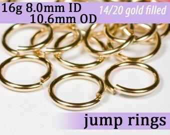 16g 8.0mm ID 10.6mm OD 14k gold filled jump rings -- goldfill jumprings 16g8.00 links