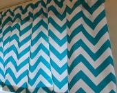 SPRING SALE  Window CURTAIN Valance Premier Prints  True Turquoise Chevron