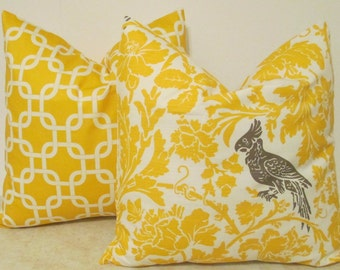 SALE NEW Collection Two Pillow Covers 18 x 18 Yellow Bird and Yellow Gotcha