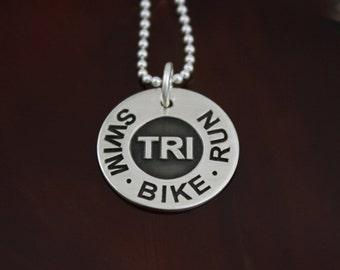 Swim . Bike . Run  - Sterling Silver Triathlon Jewelry