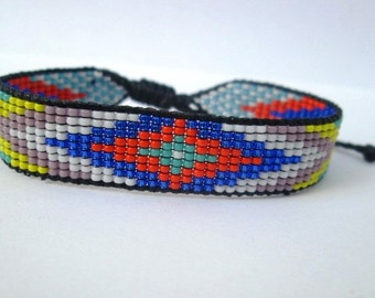Huichol Native American Inspired Multi-Colored, Beaded Friendship Bracelet 102