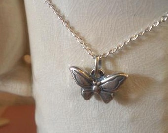 On Sale!  Whimsical Solid Sterling Silver Butterfly Necklace