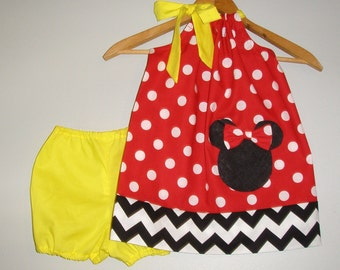 Disney Minnie Mouse SALE 10% off code is tilfeb  dress  Red dots yellow BLOOMER pillowcase dress Disney dress  3,6,12,18 month 2t,3t,4t,5t,