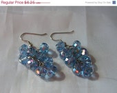 FINAL SALE Light Blue Sapphire Crystal Cluster Earrings