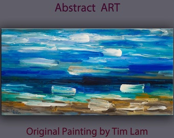 """Original Huge simplicity art  Abstract Impasto Texture Oil painting by Tim Lam 48"""" x 24"""""""