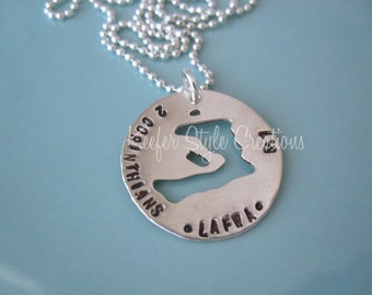 Handstamped Haiti cut out adoption/mission necklace