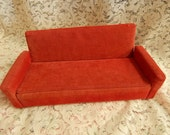 Handmade red vintage Barbie doll couch
