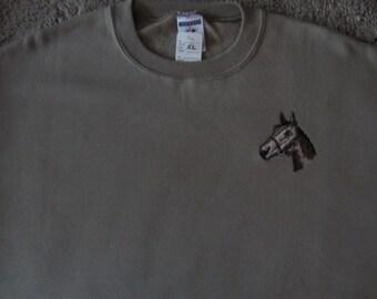 Horse themed Khaki Sweatshirt - Large