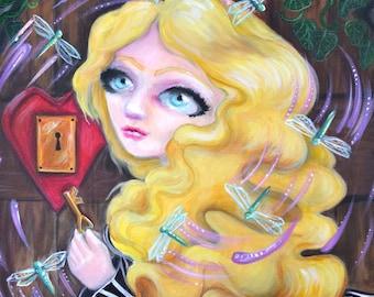 "Original Fantasy Art ""Secret Door"" 16x20 inches by Amanda Christine Shelton, Pop Surrealism, Lowbrow Art, Bigeyed Art"