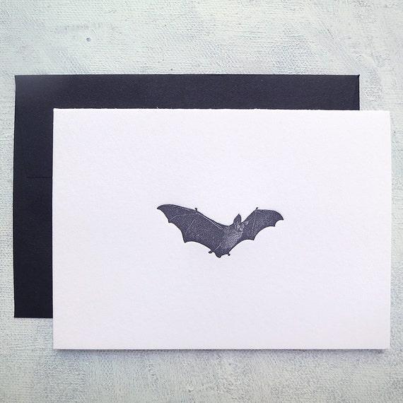 Letterpress Note Cards - Bat - set of 6