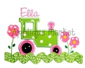 Custom Personalized Machine Applique Girly Tractor Shirt 12 months 2t 3t 4t 5t