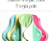 "cloth pads /  bamboo and organic cotton / 8"" REGULAR PETITE flow set of six"