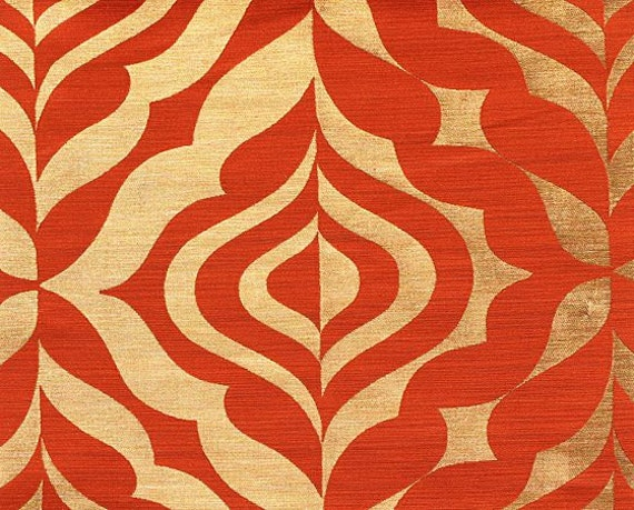custom curtains with burnt orange gold geometric pattern one