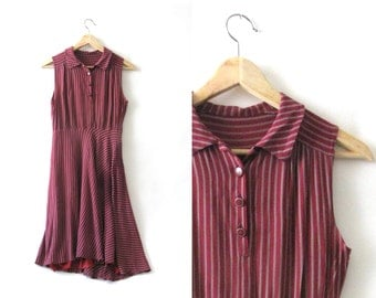 Striped burgundy button down dress - 1980