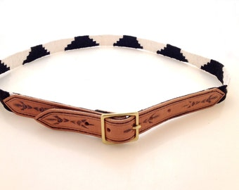 Tooled Leather Belt with  Woven Guatemalan Fabric