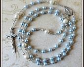 Custom Boys Baptism Rosary, Blue & White Swarovski Pearl Christening Rosary, Baptism Gift