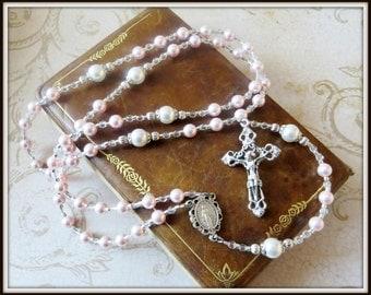 Girls Baptism/Christening Rosary in Pink & White Swarovski Pearl, Catholic Gift Christening/Baptism Gift