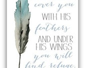 He Will Cover You With His Feathers Watercolor Print 8x10