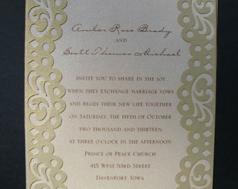 Fifth Avenue Collection Invitation Suite - FA201435 - Gold & Cocoa Shimmer with vintage-inspired scallop borders