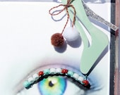 Snow Shoes Eyelash Jewelry - false eyelashes with mint green stilettos