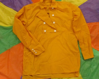 Womans Monkees style Large Yellow 8 button Bib Front Shirt