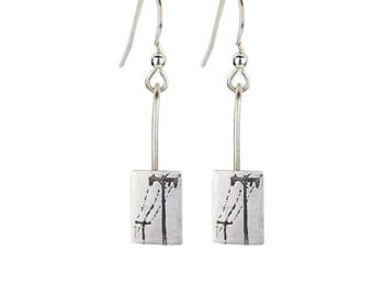 telephone wire etched silver earrings