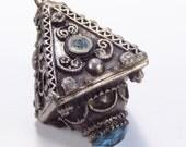 Antique vintage etruscan mixed metal blue rhinestone pyramid talisman pendant