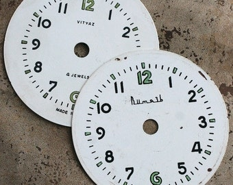 Vintage Alarm Clock Faces -- metal -- set of 2