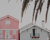 Beach Photography, Red Stripes Houses, Beach Landscape, Beach Houses, Travel Photograph, Europe, Colorful Houses, Beach Grass, Architecture
