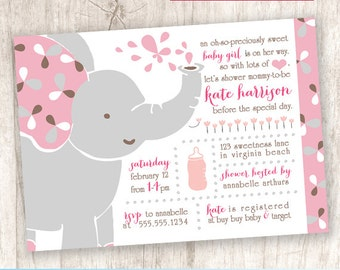 Baby Elephant Girl Baby Shower Invitation, Little Peanut Shower - DiY Printable, Print Service Available || Baby Girl Elephant Enchantment