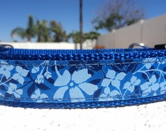 """Sale Large Dog Collar 1.5"""" Side Release buckle Blue Garden - or 1"""" listing within - martingale style is cost upgrade"""