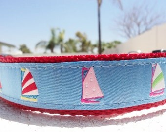 "Large Dog Collar 1.5"" wide in Side Release or Martingale collar style Blue Sails - see 3/4"" collar link within"