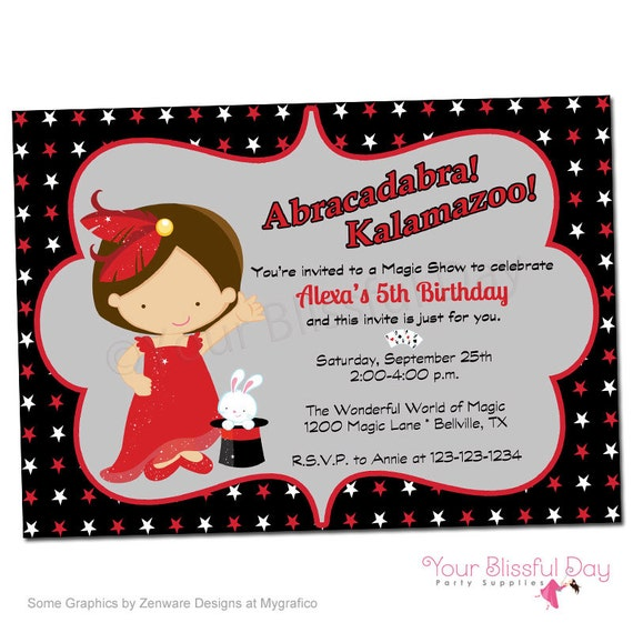PRINTABLE Girl Magic Show Party Invitation #550