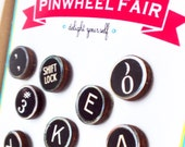 Typewriter Key Magnets Push Pins Accessories - Qty 10 - Vintage Office Replica Wood Gifts Under 25