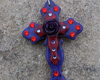 Purple Stone Curvy Cross with Red Stone Cross, Eggplant Purple Acrylic Rose and Bling