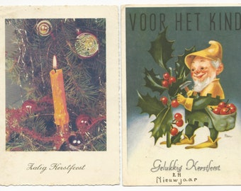 2 Vintage DUTCH Christmas New Years postcards Candle and Holly Berry picking Elf Kerstfeest Holland Netherlands