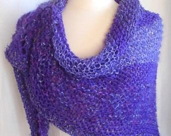 Hand Knit Purple Triangle Shawl, Wrap, Chevron Scarf, Purple Wool, Linen, Mohair, Plush