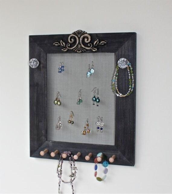 jewelry wall mount earring holder organizer wood by