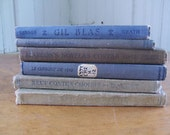 Lot of 6 Small Vintage Foreign Book Bundle Instant Collection Books 1896-1929 BLUE GRAY Wedding Photography Prop