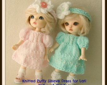 Instant Download PDF Pattern for Puffy Sleeve Knitted Dress for Lati Yellow and Pukifee