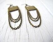 Bohemian Draped Chain/ Bar Earrings,  Antiqued Brass Dangle: Bar None